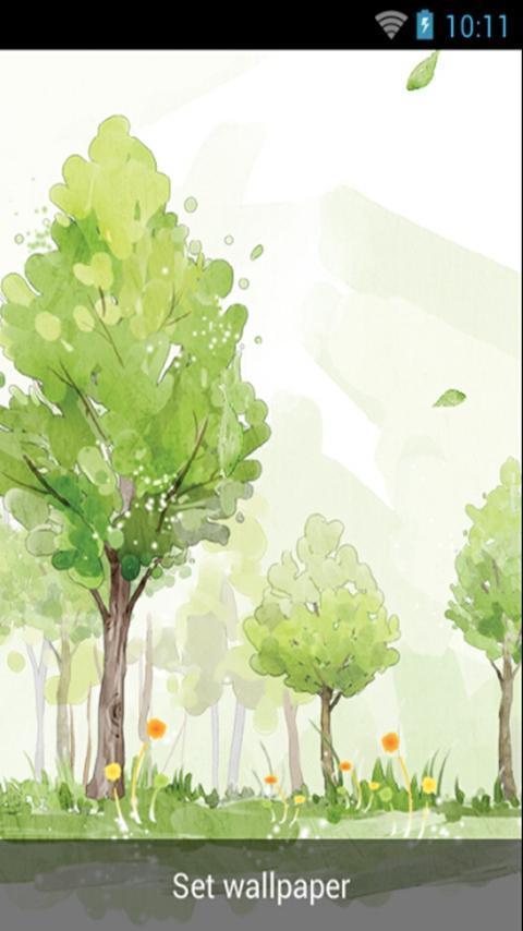清新树林水彩风格,动态壁纸,树木,随风摇动