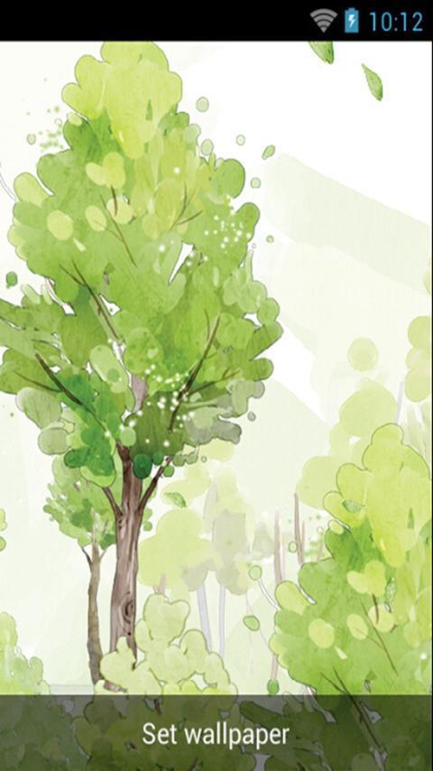 清新树林水彩风格,动态壁纸